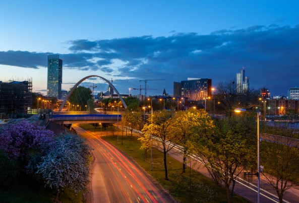 Beetham Tower, the tallest building in Manchester and Hulme Arch bridge over Princess road.